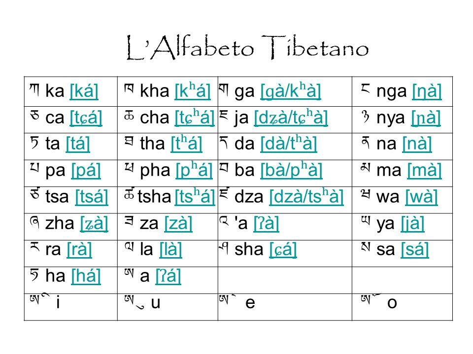 L'Alfabeto Tibetano ཀ ka [ká] ཁ kha [kʰá] ག ga [ɡà/kʰà] ང nga [ŋà]